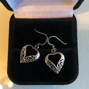 Sterling silver drop heart earrings